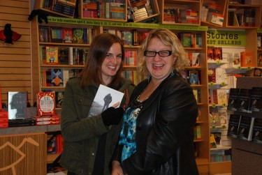 Fellow writers Rachelle Delaney and Lori Sherritt-Fleming attended book launch at Vancouver Kidsbooks, the hub for YA literature in B.C.