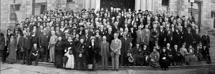 Four-time Nanaimo mayor Mark Bate is at the centre of this 1924 gathering on the steps of the B.C. Legislature