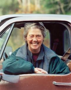 Cameron, Anne in brown car