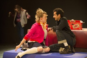 Jan (Kimberly Larson) and Roger (Chirag Naik) in the Studio 58 production of The Original Grease, on stage thru February 23.