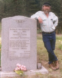 Don Gayton at the gravesite of Ranald Macdonald, just south of the Canadian border in Washington.