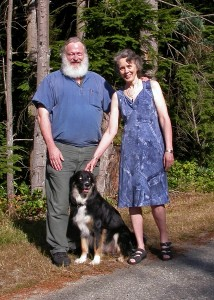 Elsted, Crispin with wife Jan and dog Maggie 2012
