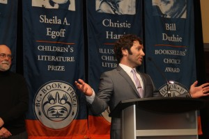 Lawrence, Grant at BC Book Prizes. Monica Miller photo.