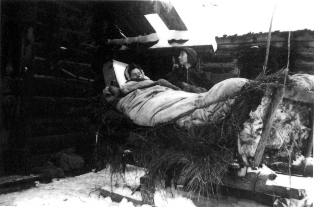 Bracewell, Gerry b&w 2 on hay sled in labour1