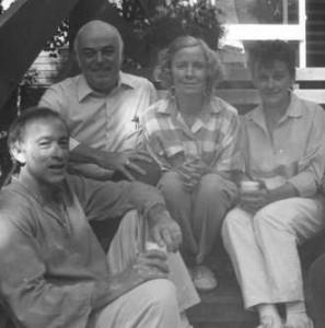 At Banff Writers Colony: Richard Lemm, Alistair Macleod, Holley Rubinsky, Sandra Birdsell