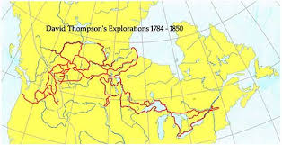 Thompson, David travels map of Canada