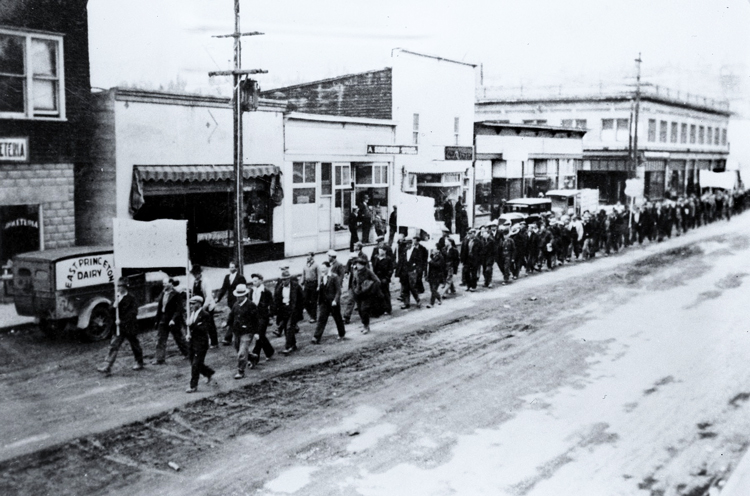Workers march in Princton
