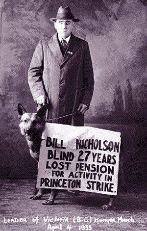 Blind Bill Nicholson lost his pension because of his activity in the the Princton strike, 1933.