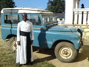 Fr. Charles Kindata with jeep