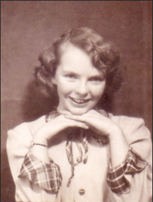 Carol Shields, age 13, 1948.