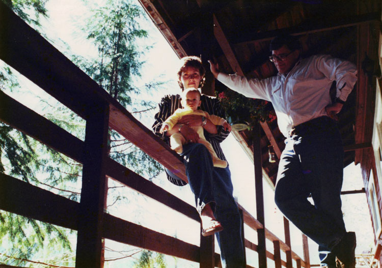 Susan Mayse with daughter Annie and Stephen Hume, Cumberland, 1990