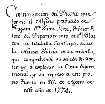 A page from Juan Pérez's diary.