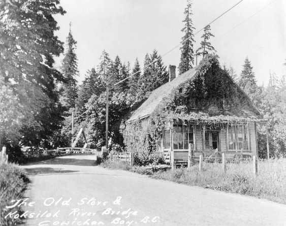 Service, Robert Corfield's Store, on the bank of the Koksilah River
