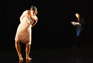 Writer Carmen Aguirre on stage with a dancer.