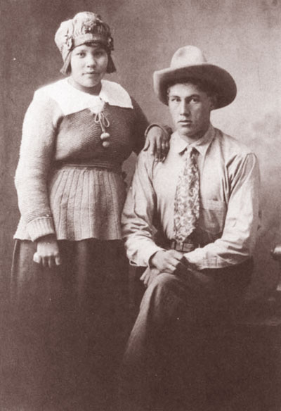Harry Robinson with Margaret Holding, who taught him to read and  write in English. Photo taken in Omak, Washington, 1922.