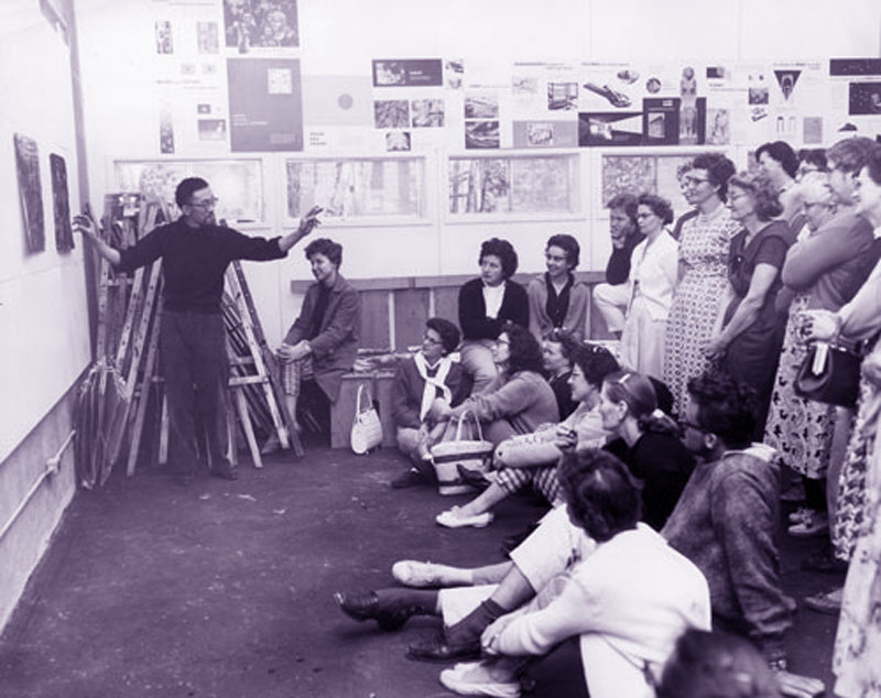 Roy Kiyooka teaching at Emma Lake Art Camp, 1961.