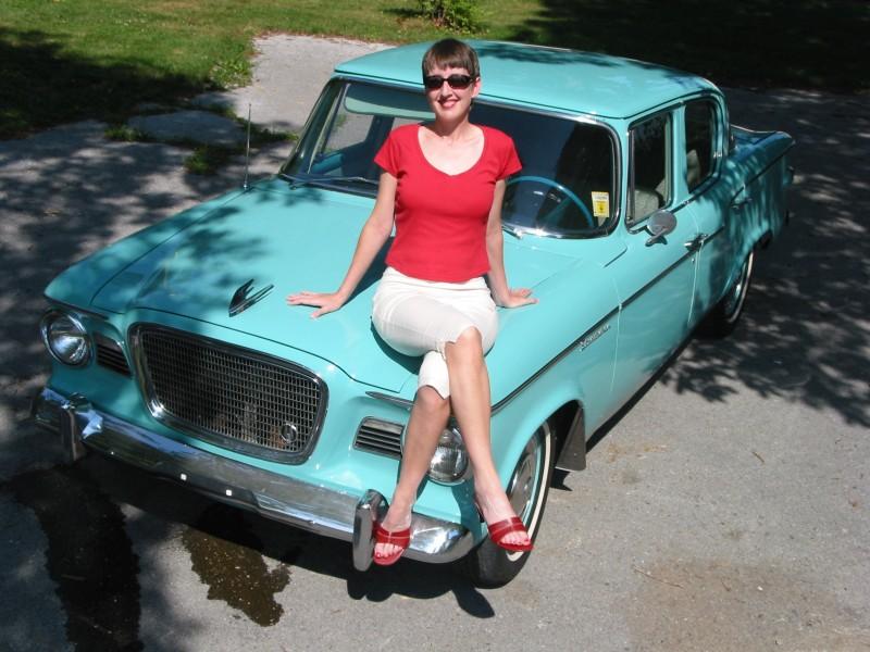 Anthony, Joelle on vintage car