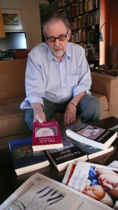 Harlow, Robert with his books