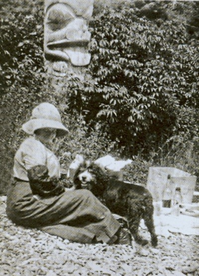 Carr, Emily, Haida Gwaii, 1912 with Billie her dog