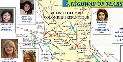 The Outside Story BC Booklook - Highway of tears canada map