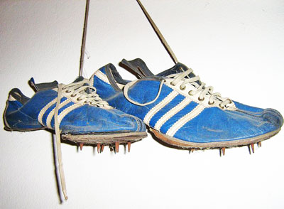 The spikes worn by Mike Agostini at the Vancouver Commonwealth Games, 1954. Glinda Sutherland photo, 2010.