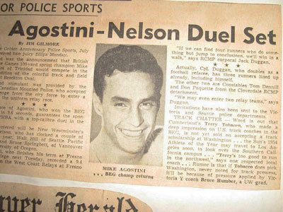 "Jim Gilmore, ""Agostini-Nelson Duel Set,"" Vancouver newspaper clipping, 1954."