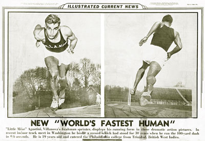 "Mike Agostini, New ""World's Fastest Human."" From Illustrated Current News."