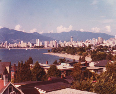 The view from the roof deck of the Sutherland apartment building, Kitsilano, looking to downtown Vancouver.