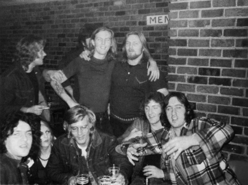 Bradley Bennet with Roger Daggit and friends at the Biltmore Hotel pub. Daggitt eventually began working as a bouncer in the pub. Bradley Bennett
