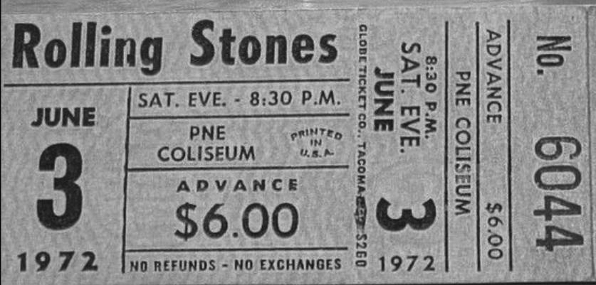 Many concert goers complained that tickets for the 1972 Rolling Stones concert in Vancouver were exorbitantly priced. Vince Ricci