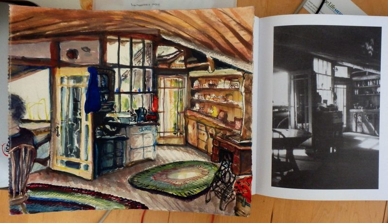 Burrows' kitchen on Hornby Island, painted by Robert Amos (left) and photo from book (right).